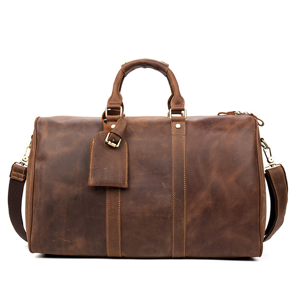 Leather Bag, Leather Duffle Bag, Leather Travel Bag, Leather Gym Bag, Leather Luggage MS023 - Leajanebag