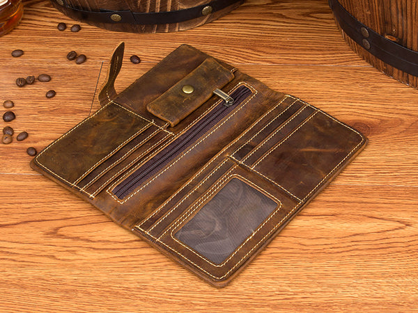 Long Leather Wallet, Leather Holder, Money Case MS129 - Leajanebag