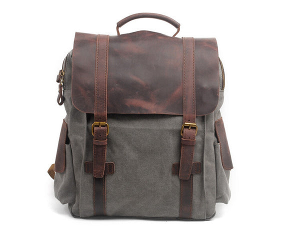 High School Canvas Backpack, Leather Canvas Backpack,Travel Backpack GN017 - Leajanebag