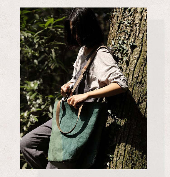 Leather Canvas Bag, Womens Canvas Bag, Crossbody Bag, Convertible Shoulder Bag YY005 - Leajanebag