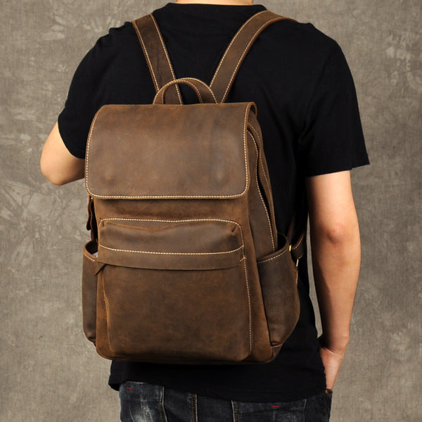 Genuine Leather Backpack, Handmade Full Grain Leather, LARGE size GZ019 - Leajanebag