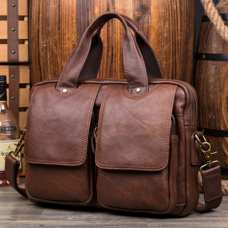 Ponza Leather Briefcase, Laptop Bag, Men's Leather Briefcase, Messenger, Floto Leather Bag MS149 - Leajanebag