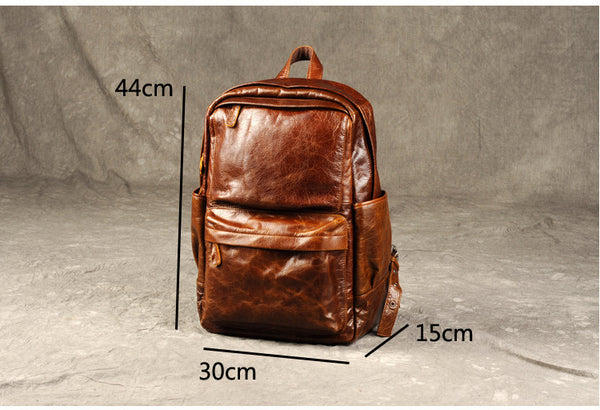 Genuine Leather backpack,Retro Larger Leather Backpack,Vegan Leather, GZ013 - Leajanebag