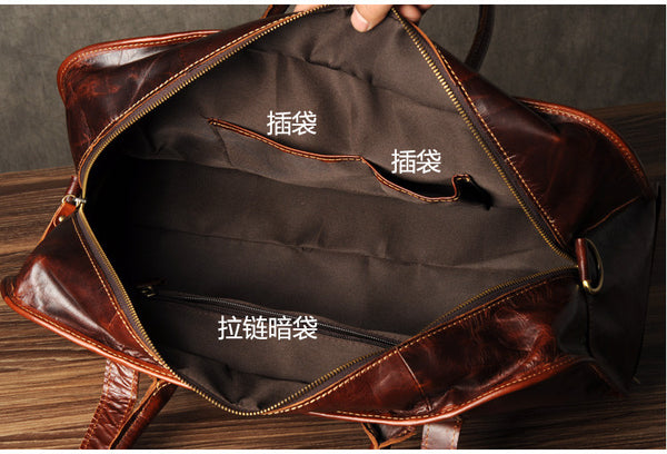 Genuine Leather Briefcase, Leather Travel Bag GZ047 - Leajanebag