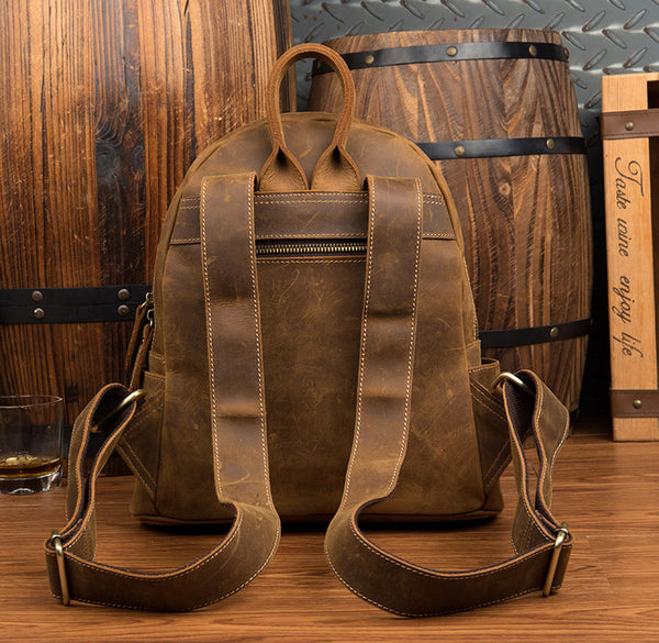 Crazy Horse Leather Backpack, Laptop Backpack, Leather Travel Backpack MS100 - Leajanebag