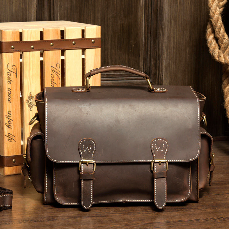 Leather Camera Bag, DSLR Carry Leather Case, Camera Shoulder Bag MS035 - Leajanebag
