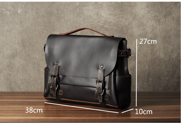 Leather Shoulder Bag,Handmade Leather Briefcase,Laptop Briefcase GZ005 - Leajanebag