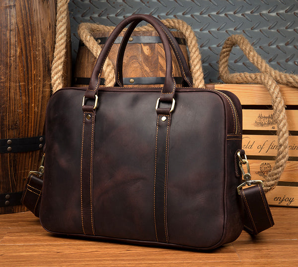 Handmade Leather Briefcase, Men's Laptop Bag MS097 - Leajanebag