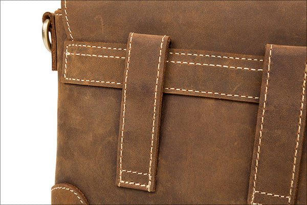 Brown Leather Messenger Bag, Side Bags for Mens, MS137 - Leajanebag