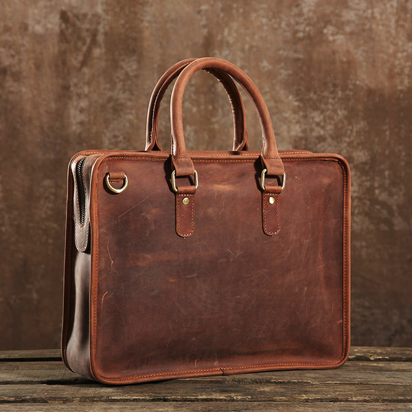 Genuine Leather Mens Briefcase, Handmade Leather Business Bag, Laptop Bag GLT002 - Leajanebag