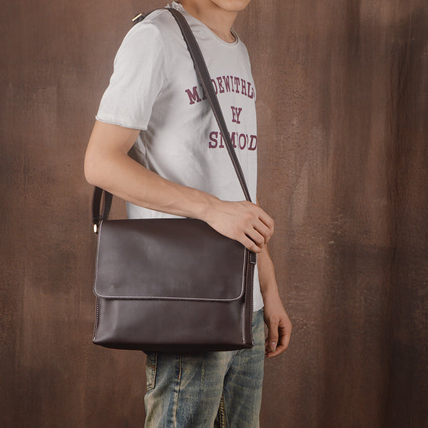 Side Bag, Leather Messenger Bag for Men, iPad Bag JZ008 - Leajanebag