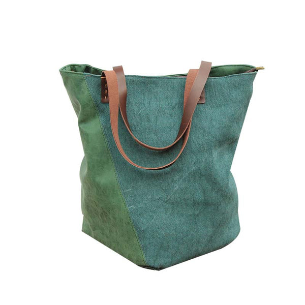 Tote leather canvas bag, Canvas shoulder bag, Canvas bag for party, Handmade shoulder bag YY005 - Leajanebag
