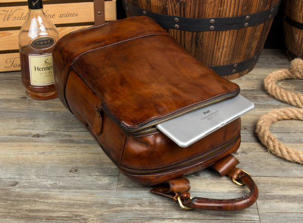 Leather Backpack, Leather Laptop Bag, Leather Shoulder Bag, School Bag, Vintage Backpack MS089 - Leajanebag
