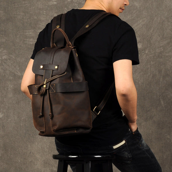 Travel Leather Backpack, Leather Rucksack, Leather Travel Backpack GZ023 - Leajanebag