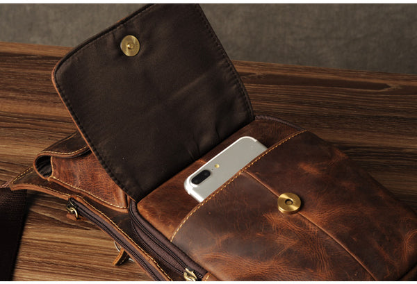 First Layer Leather Chest Bag, Leather Men's Chest Bag,Shoulder Bag GZ040 - Leajanebag