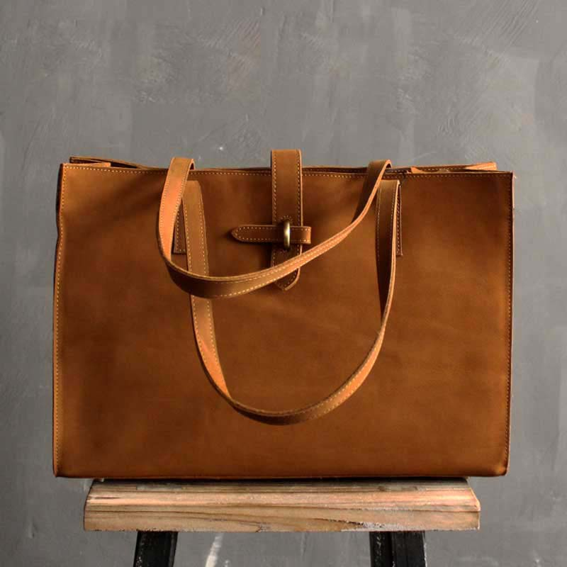 Leather Tote Bag, Raw Edge Leather Purse Shopper Bag, Shoulder Womens Large Market Bag SL005 - Leajanebag