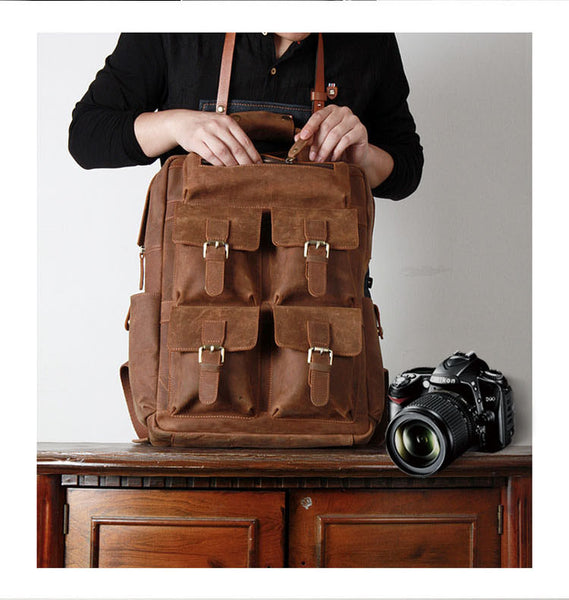 Genuine Leather Camera Bag , Leather Camera Backpack, Leather SLR Camera Case, AT-004 - Leajanebag