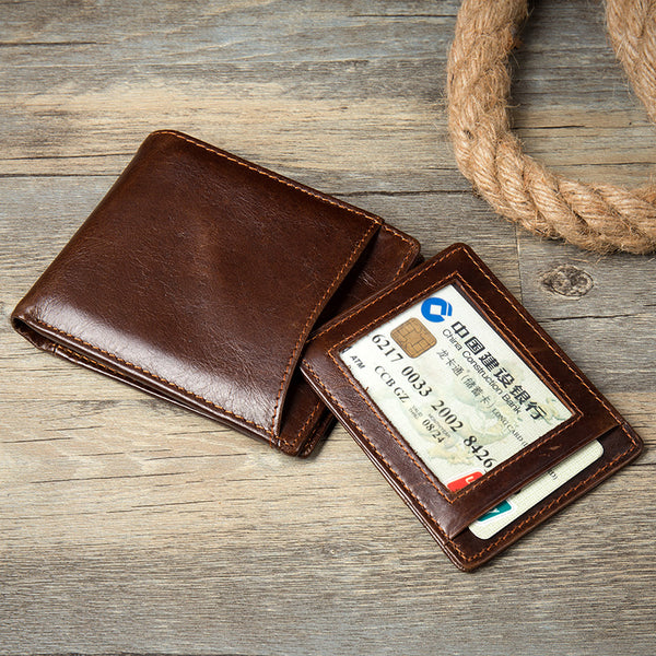 Handmade Short Wallet, Leather Vegtan Leather Cards Case, Leather Money Holder MS151 - Leajanebag