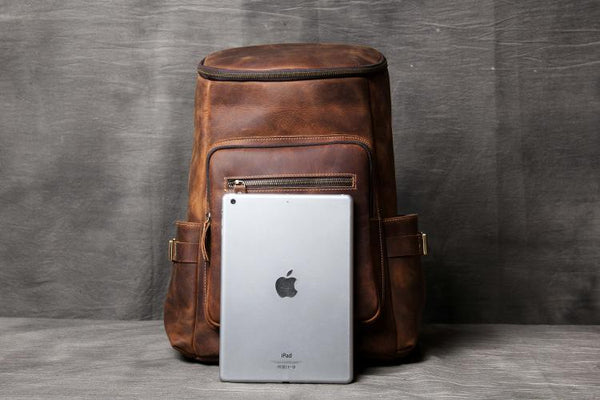 Leather Backpack, Leather Laptop Bag, Laptop Backpack, Macbook Bag, Handmade School Bag OAK-008 - Leajanebag
