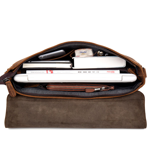 Leather Messenger Bag, Leather Briefcase, Messenger Bag, Leather Laptop Bag MS043 - Leajanebag
