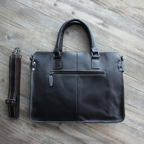 Black Top Grain Leather Briefcase for Men, Leather Laptop Bag GM011 - Leajanebag