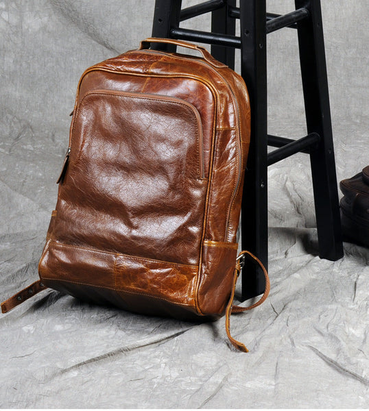 Waxed Leather Backpack - Full Grain Leather Backpack, Handmade Laptop Backpack. LARGE size., GZ012 - Leajanebag