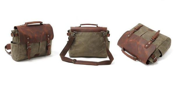 Waxed Canvas Bag, Carry all with Leather Handles, COLLECTION UNISEX Leather Canvas Bag GN009 - Leajanebag