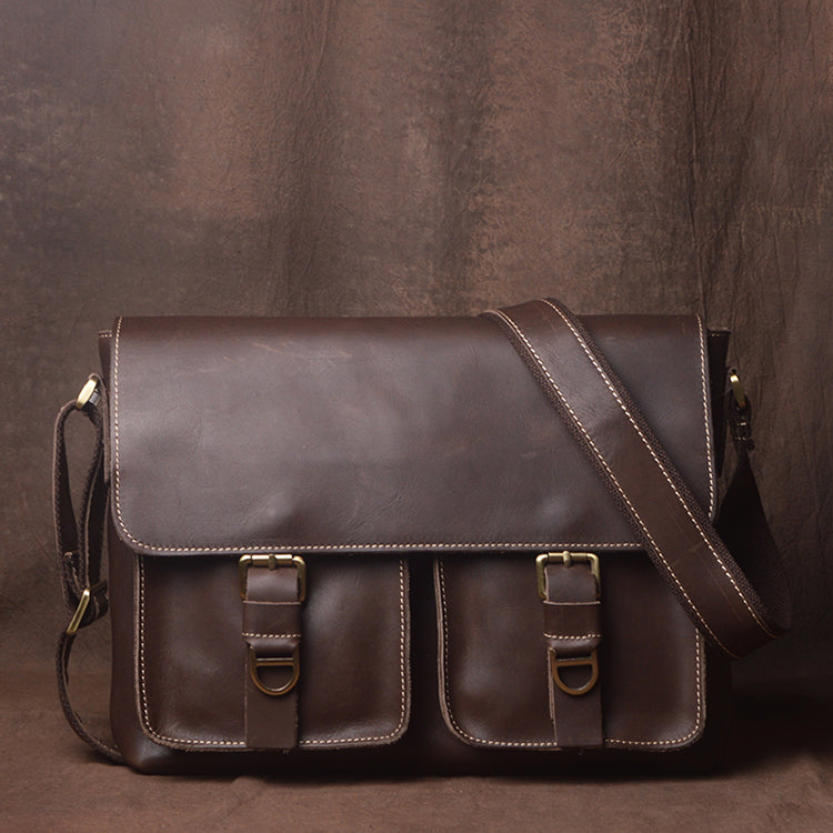 Genuine Leather Messenger Bag for Men, Leather Laptop Bag JZ012 - Leajanebag