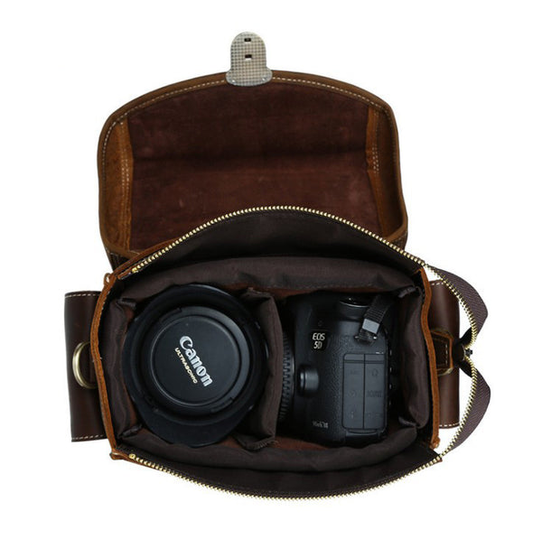 Genuine Leather DSLR Camera Bag, Leather SLR Camera Holder, Camera Bag AT001 - Leajanebag
