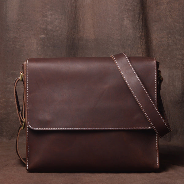 Leather Messenger Bag, Crossbody Bag, School Bag, Handmade Bag JZ008 - Leajanebag