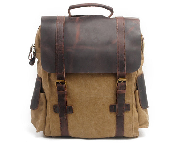 Leather Canvas Backpack, Quality Handmade Canvas Backpack, Canvas School Backpack GN017 - Leajanebag