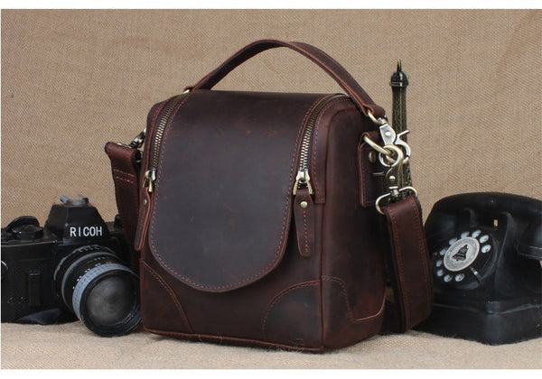 Leather Camera Bag, DSLR Camera Bag, Removable Padded for DSLR Camera and Lens 1125 - Leajanebag