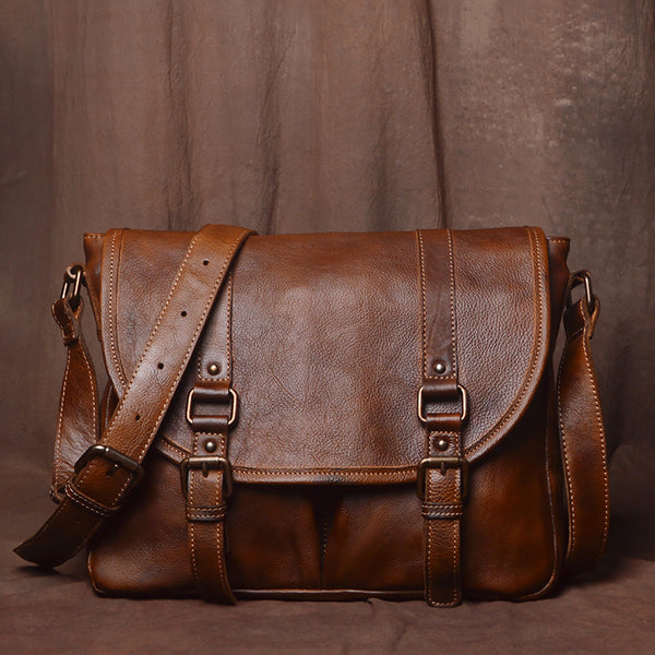 Mens Leather Bag, Leather Handmade Briefcase, Crossbody Business Bag 9042 - Leajanebag