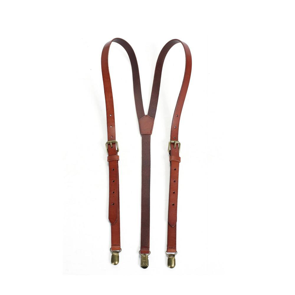 Wedding Groomsmen Leather Suspenders Party Suspenders Men's Suspenders in Reddish Brown 0191 - Leajanebag
