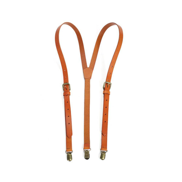 Wedding Groomsmen Leather Suspenders Party Suspenders Men's Suspenders in Yellow Brown 0191 - Leajanebag