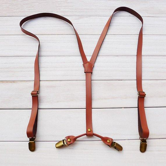 Wedding Groomsman Suspenders Brown Leather Suspenders Party Suspenders Men's Suspenders 0193 - Leajanebag
