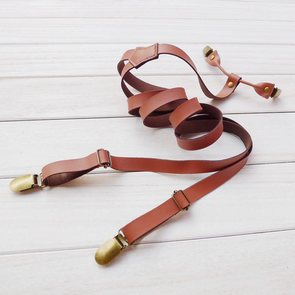 Wedding Groomsman Suspenders Black Coffee Leather Suspenders Party Suspenders Men's Gifts 0193 - Leajanebag
