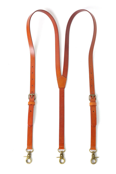 Handmade Leather Suspenders Wedding Suspenders Groomsmen Suspenders in Yellow Brown 0192 - Leajanebag