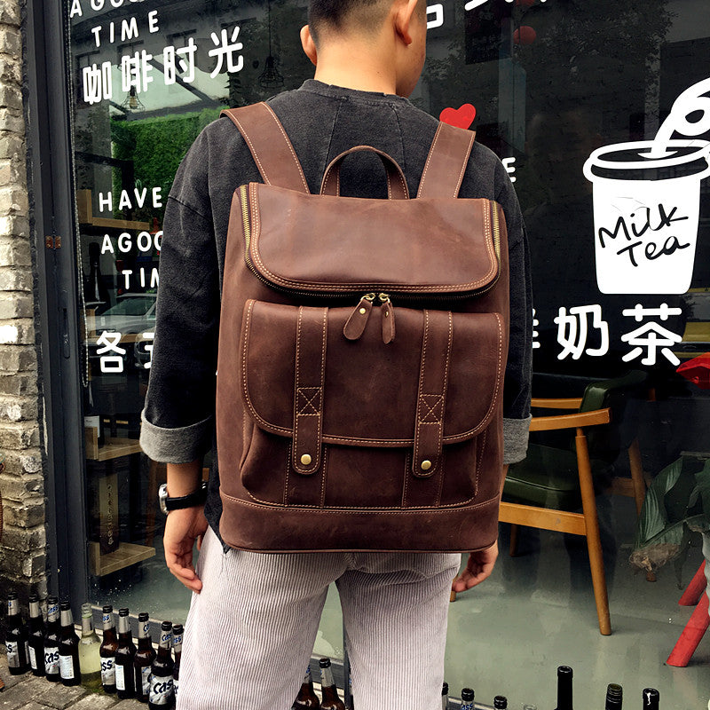 Xmas Gift, Leather Backpack, Travel Leather Backpack, Laptop Backpack,Extra Large Backpack MT005 - Leajanebag