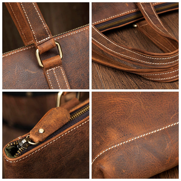 Handmade Leather Briefcase, Laptop Portfolio Bag, Real Leather Business Bag MS001 - Leajanebag