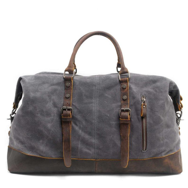 Handmade Distressed Leather Water Proof Waxed Canvas Duffel Bag Weekend Bag Overnight Bag Holdall Luggage Bag Travel Bag Carryon Duffle Bag  OT001 - Leajanebag