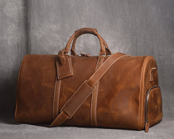 Full Grain Leather Duffle Bag with shoe Compartment,Personalized Leather Travel Weekend Bag,Wedding Gift for Groomsman QT002 - Leajanebag
