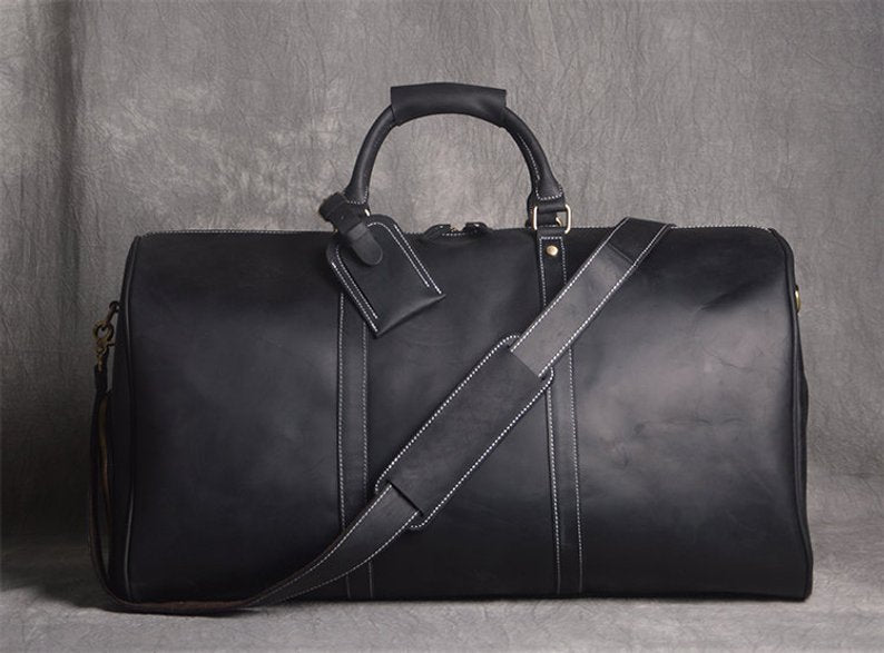 f1531ab4c ... Full Grain Leather Duffle Bag with shoe Compartment,Personalized Leather  Travel Weekend Bag,Wedding ...