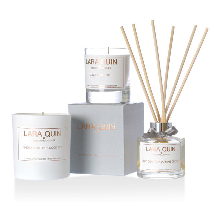 Scented candle and reed diffuser sets