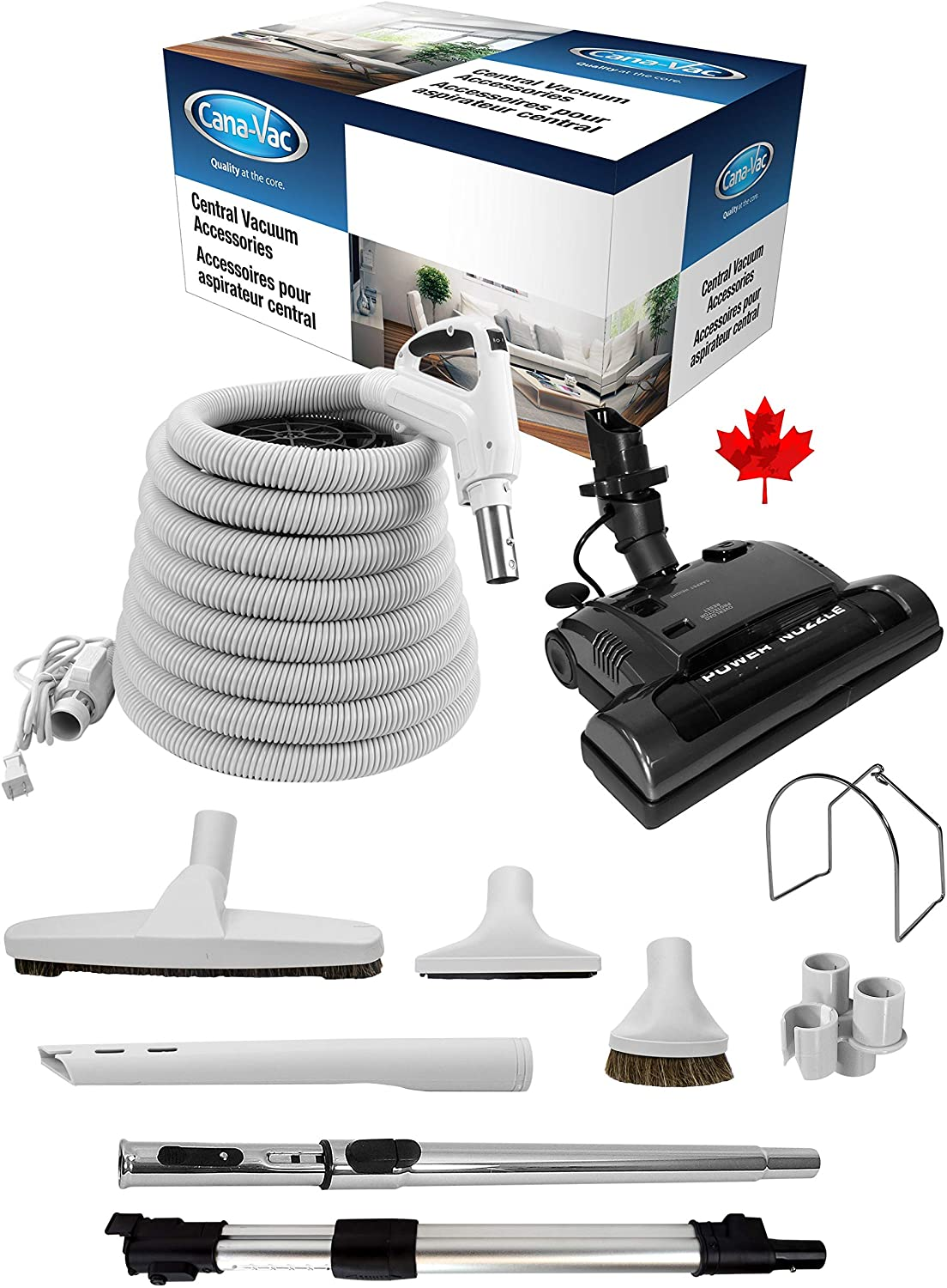Canavac Essentials Electrical Accessory Kit with PN33 - Designed for Hardwood Floors, Area Rugs, Carpeting. Universal fits all 1&1/4 Size - Super Vacs