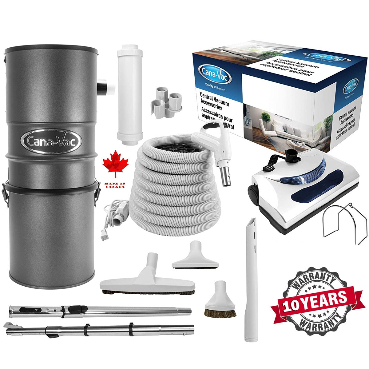 CanaVac Ethos CV700SP Compact Central Vacuum Cleaner With Deluxe Electric Package - 700AW for homes up to 8,000 Sq.F. - Super Vacs