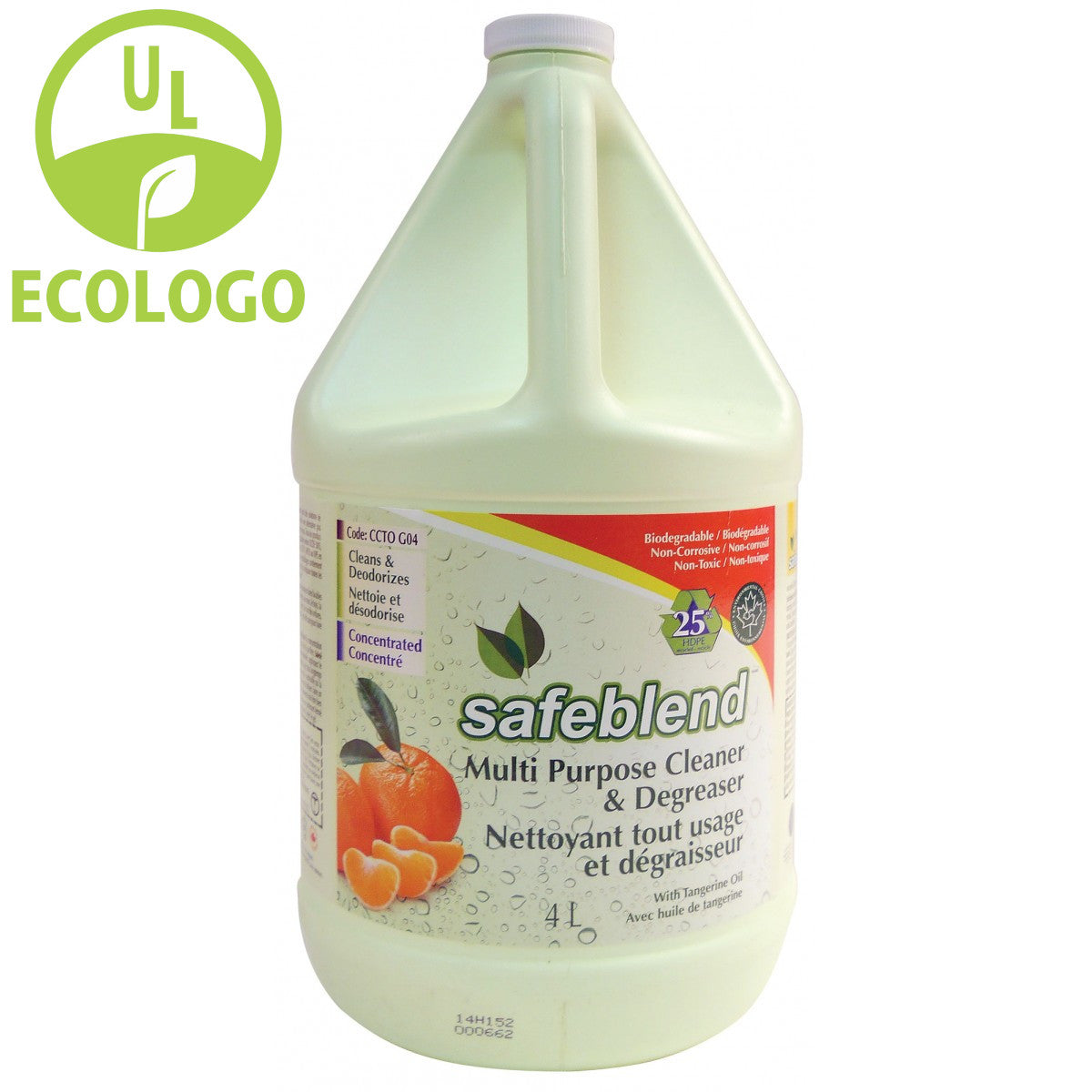 Safeblend EcoLogo Multi-Purpose Cleaner/Degreaser (Tangerine Scent) - 4L - Super Vacs