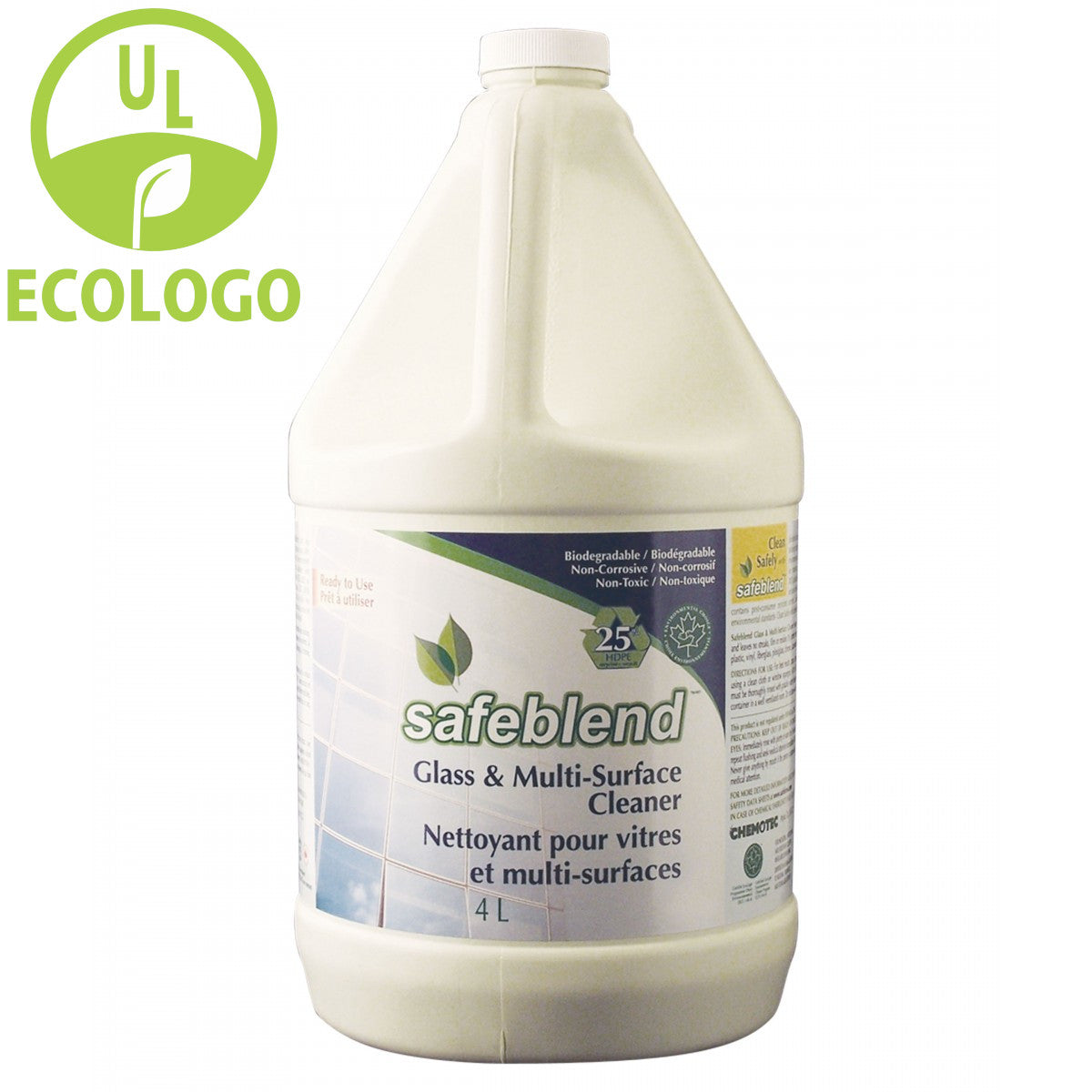 Safeblend Ready to Use EcoLogo Glass Cleaner - 4L - Super Vacs
