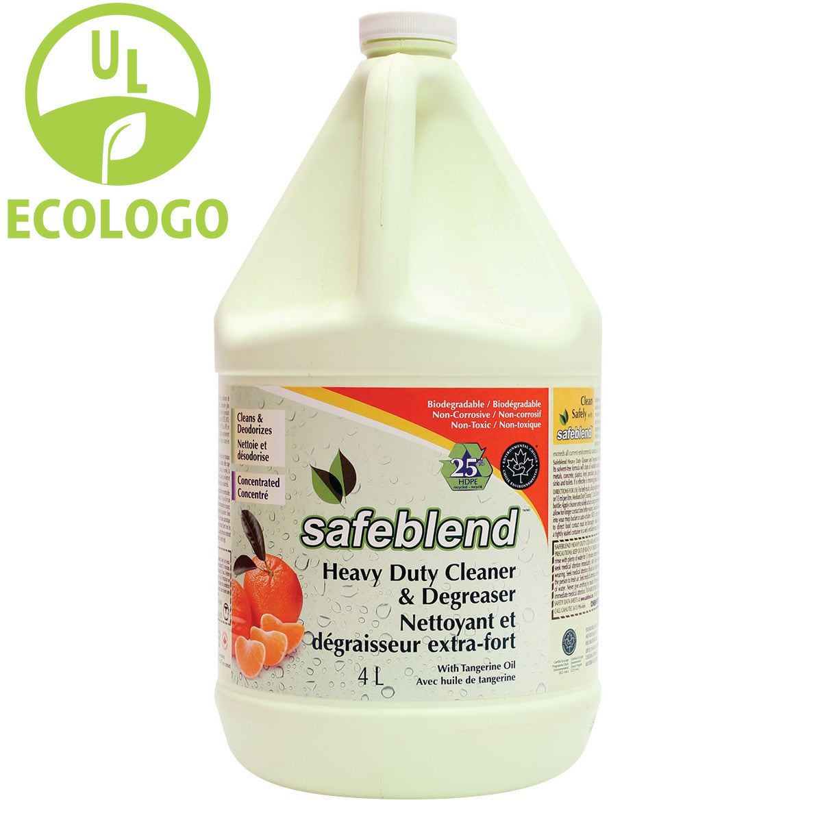 Safeblend Extra Strength EcoLogo Degreaser and Cleaner (Tangerine Oil) - 4L - Super Vacs
