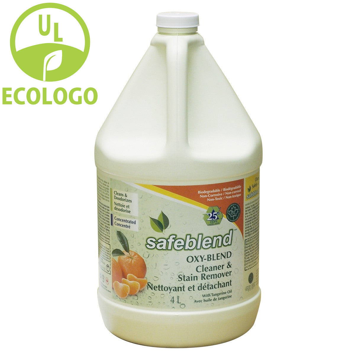 Safeblend Oxy EcoLogo Cleaner and Stain Remover (Tangerine Oil) - 4L - Super Vacs